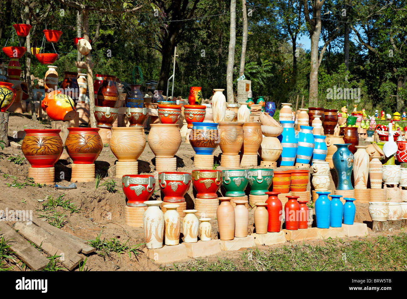 Earthenware for sale in Paraguay - Stock Image