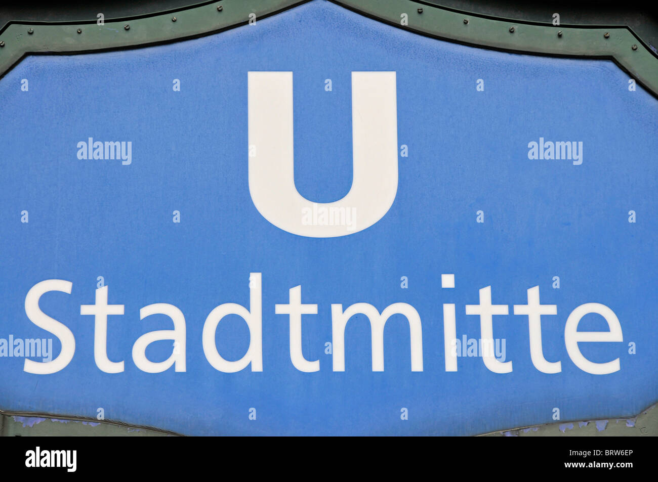 Sign at the entrance to the Stadtmitte underground station, Berlin, Germany, Europe - Stock Image