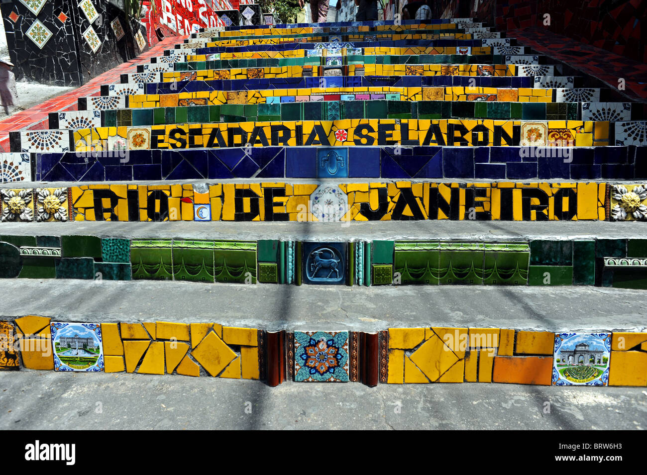 Escadaria Selarón the set of world-famous stairs in Santa Teresa/ Lapa area of Rio and is the work of artist - Stock Image