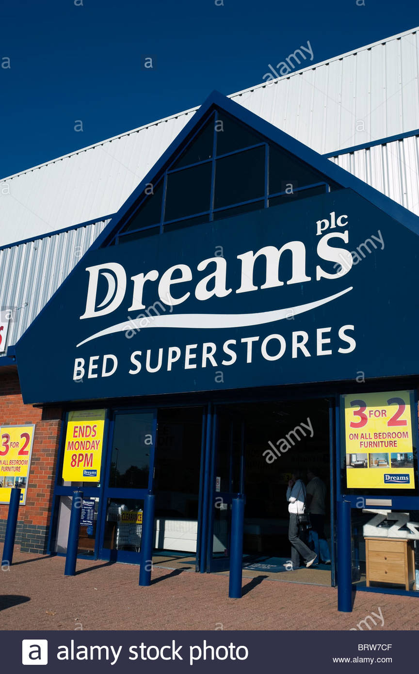 Dreams bed superstores store on a retail village in Cheltenham, UK. - Stock Image