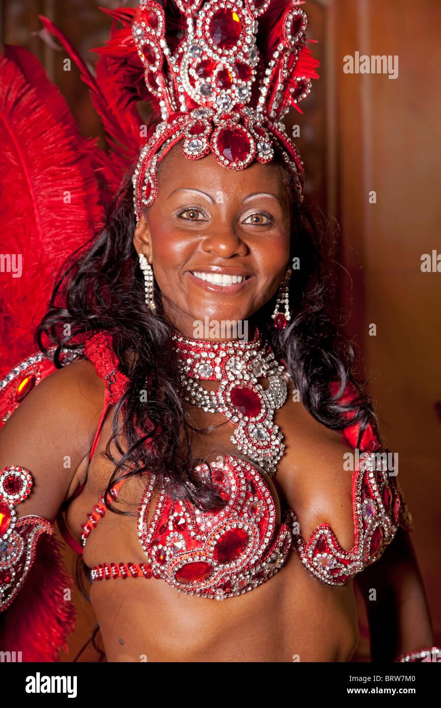 Brazilian Samba Dancer at RDA Ball Cheltenham Racecourse October 2010 - Stock Image