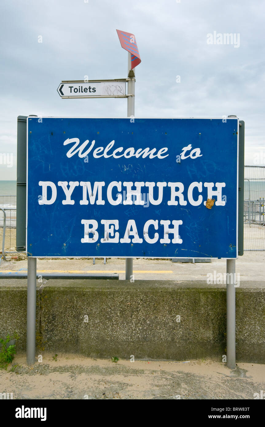 Run Down Welcome To Dymchurch Beach Sign Kent England - Stock Image