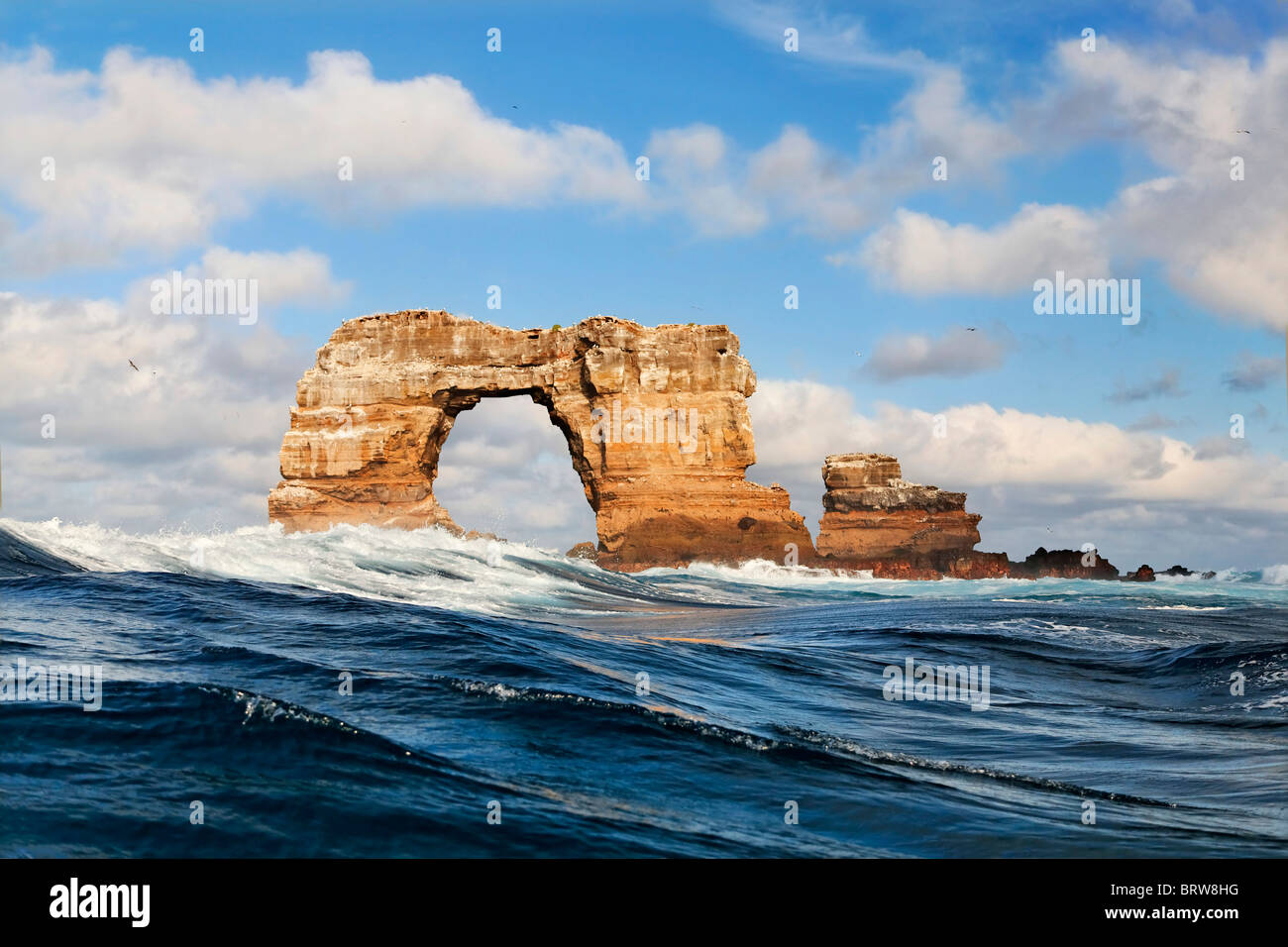 Rock gate, natural monument, Darwin island, Galapagos archipelago, Unesco World Heritage Site, Ecuador, South America, - Stock Image