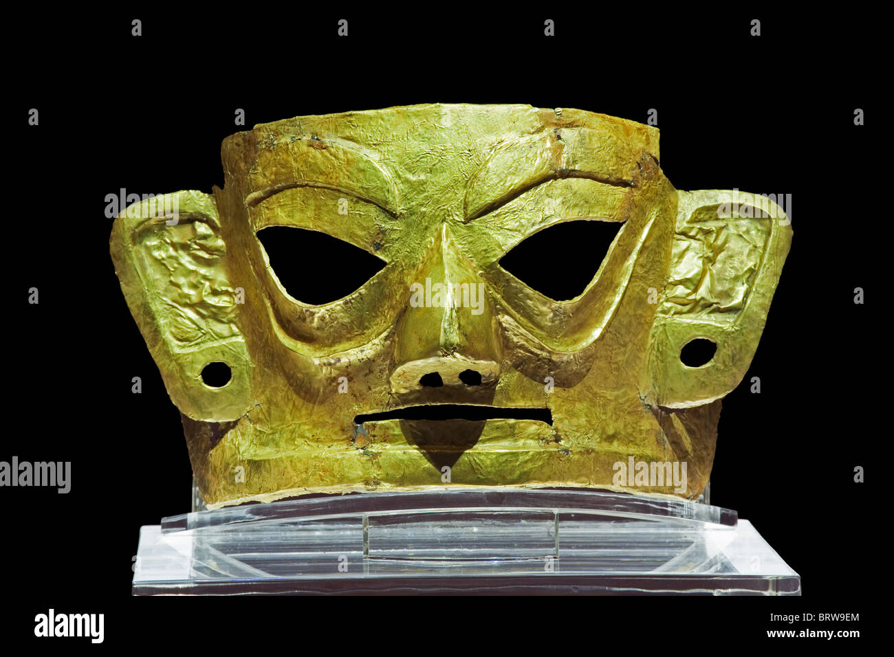 A golden mask found in the Jinsha Excavation Site in Chengdu China - Stock Image