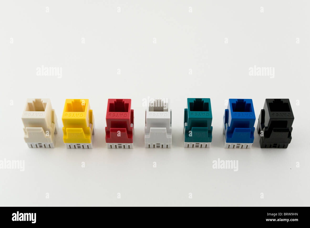 Modules, connectors, cables, plug in, color, macro, close up, advertising, catalogue - Stock Image