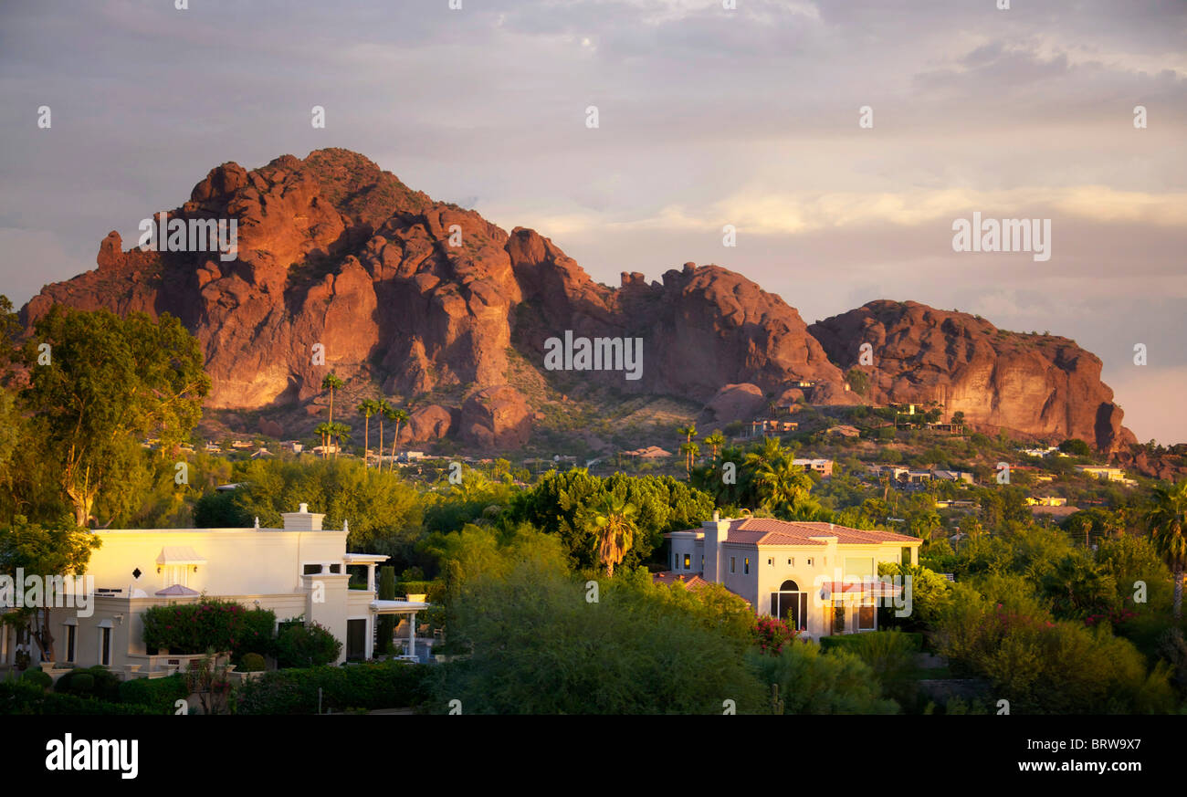 Camelback Mountain shot at sunset in the valley of the sun located in Scottsdale and Phoenix,AZ - Stock Image