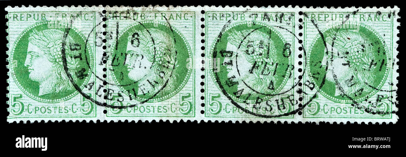 Scarce strip of four used 1873 French 5 centimes Cérès postage stamps. - Stock Image