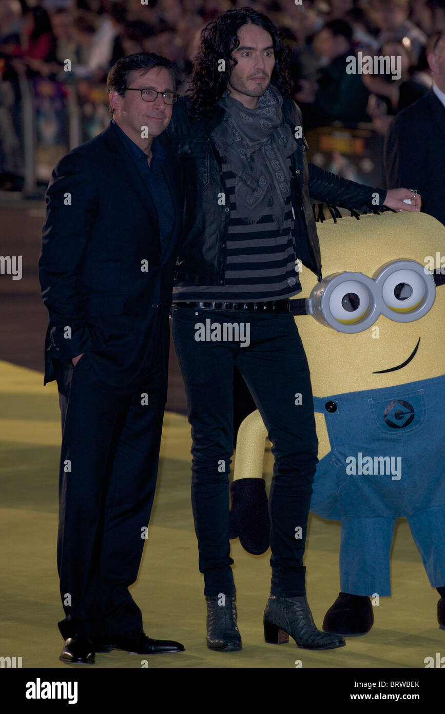 Steve Carell and Russell Brand attend The European Premiere of 'Despicable Me ' at Empire Leicester Square - Stock Image