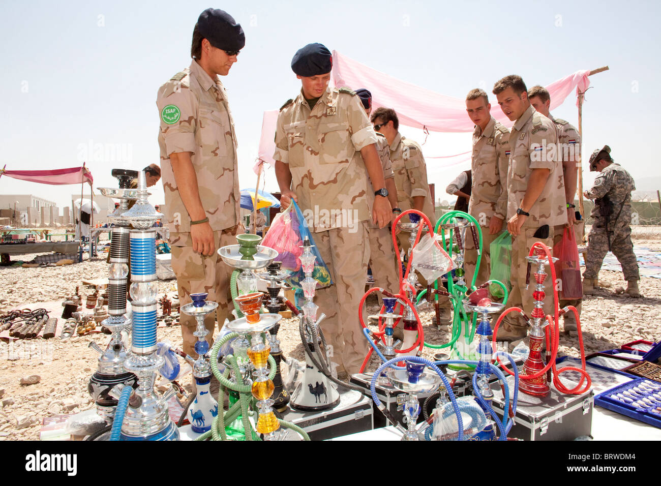 souvenir market outside military base in Uruzgan - Stock Image