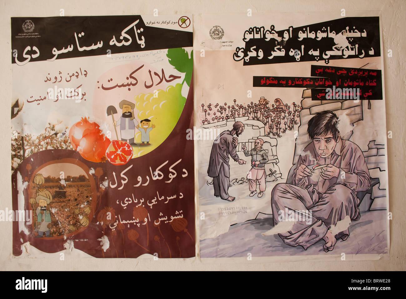 poster against drug usage in Afghanistan - Stock Image