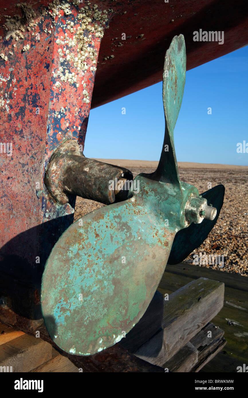 Fishing boat propeller Stock Photo