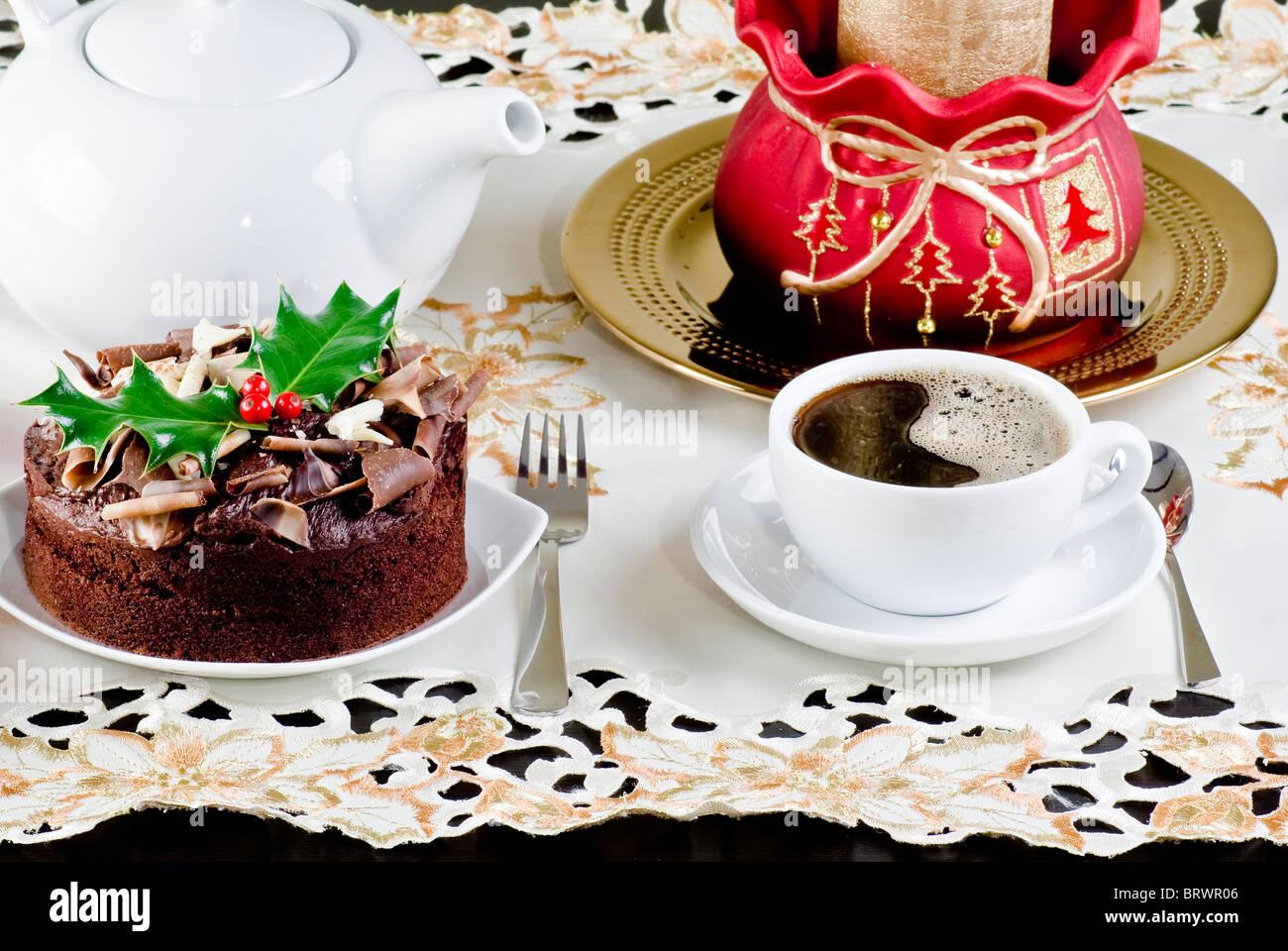 Coffee Christmas Morning.Christmas Morning Coffee And Chocolate Cake Stock Photo