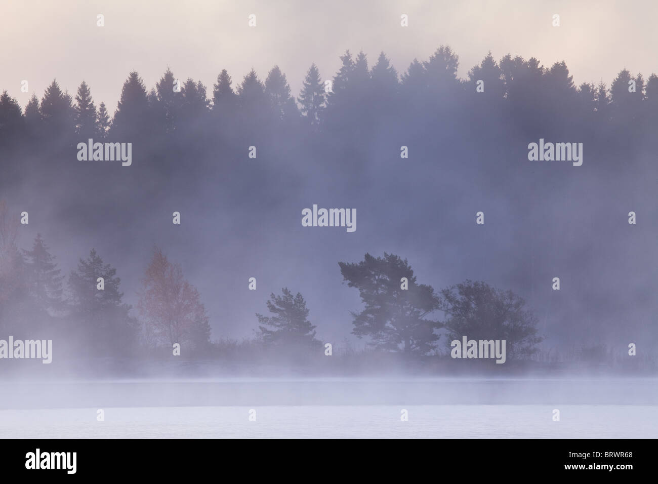 Early morning mist after a frosty October night in the lake Vansjø, Østfold, Norway. Vansjø is a part of the water Stock Photo