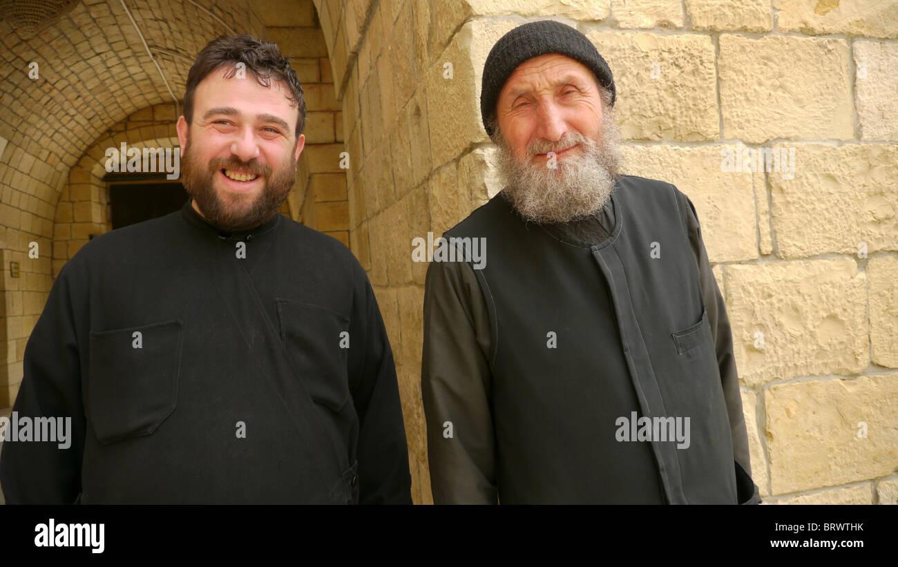 SYRIA Bishop Christo and Father Isaac of Saint George's monastery, Almishtaya, Wadi al-Nasarah, 'Valley - Stock Image