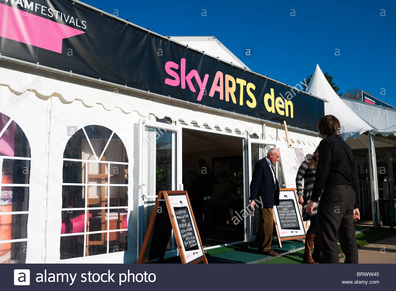 Cheltenham literary festival sky arts den, people outside, UK. - Stock Image