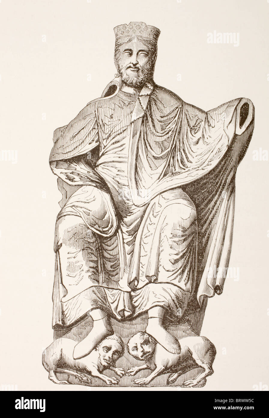 King Dagobert I. After a bas-relief reproducing an ancient statue of the Merovingian king. - Stock Image