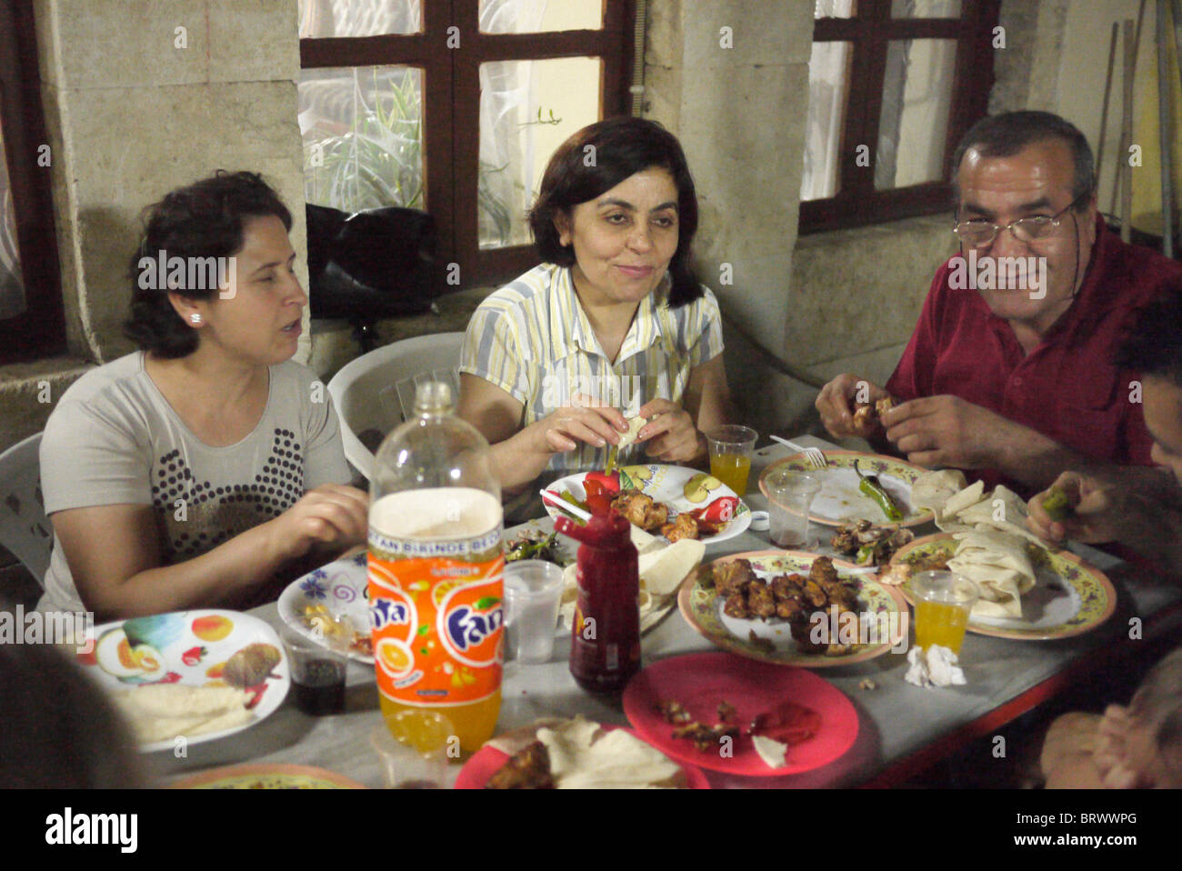 TURKEY Recent converts from Islam to Protestant Christianity at party after a joint baptism, Antakya, (formerly - Stock Image