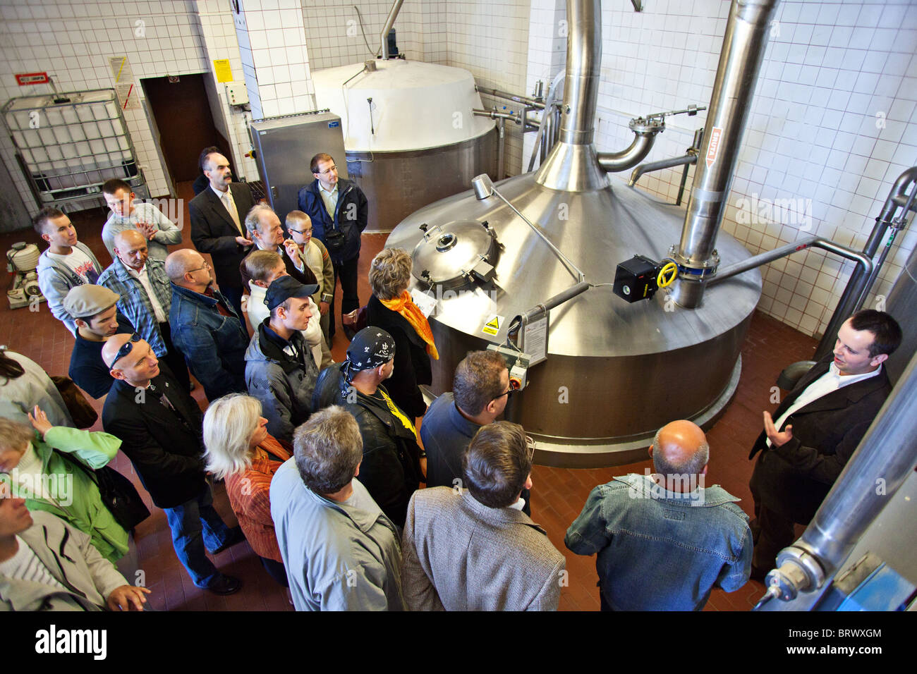 Tourists visiting a brewery in Poland, Zabrze - Stock Image