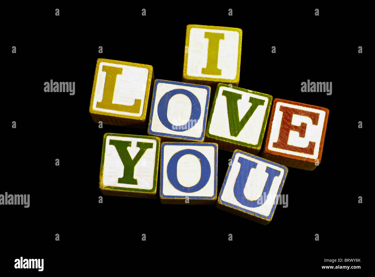 Wooden Toy Blocks Spelling I Love You Stock Photo 31917667 Alamy
