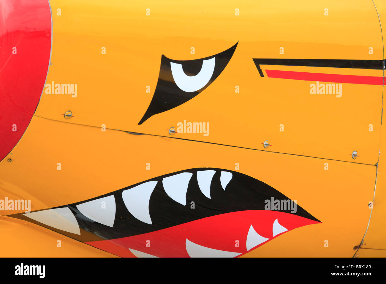 Snarling face on front of aeroplane - Stock Image