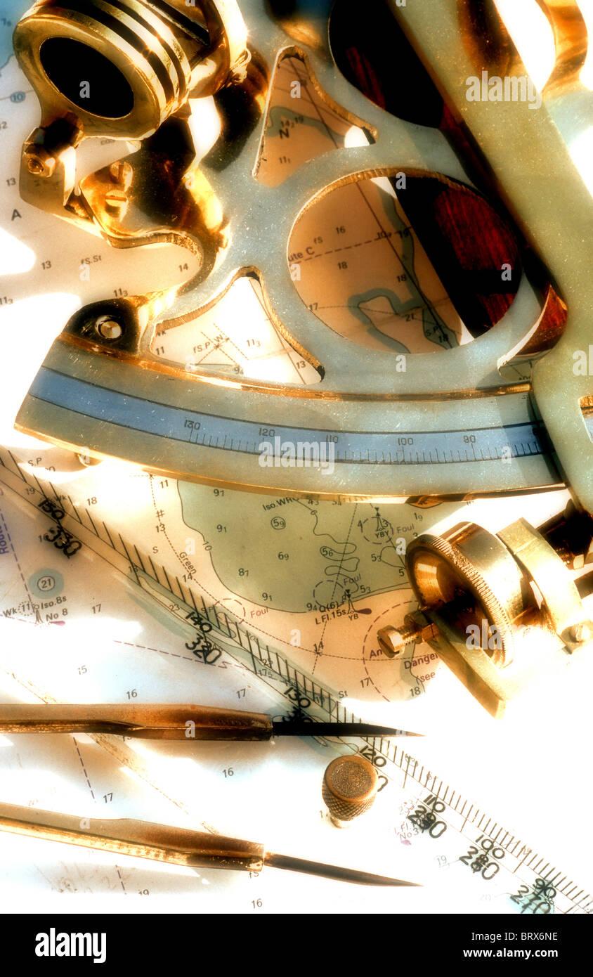 marine navigation. sextant - Stock Image