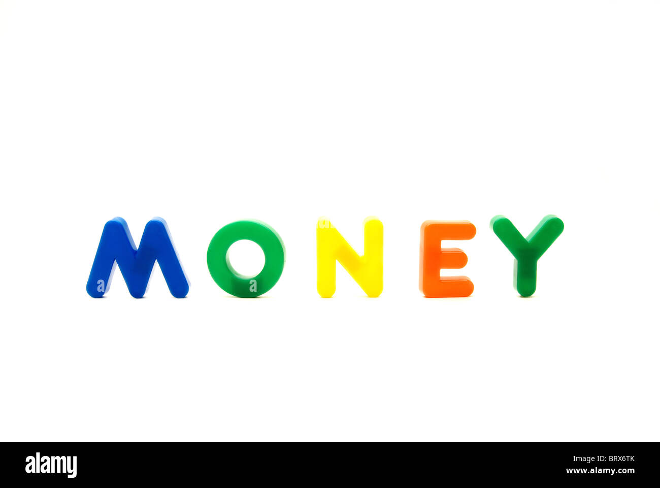 Children's play letters spelling the word Money - Conceptual. - Stock Image