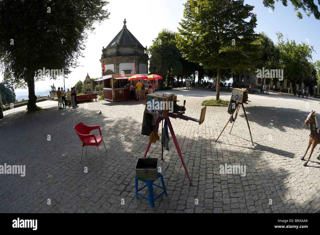 Commercial portrait cameras set up at Bom Jesús do Monte, Braga, Portugal - Stock Image
