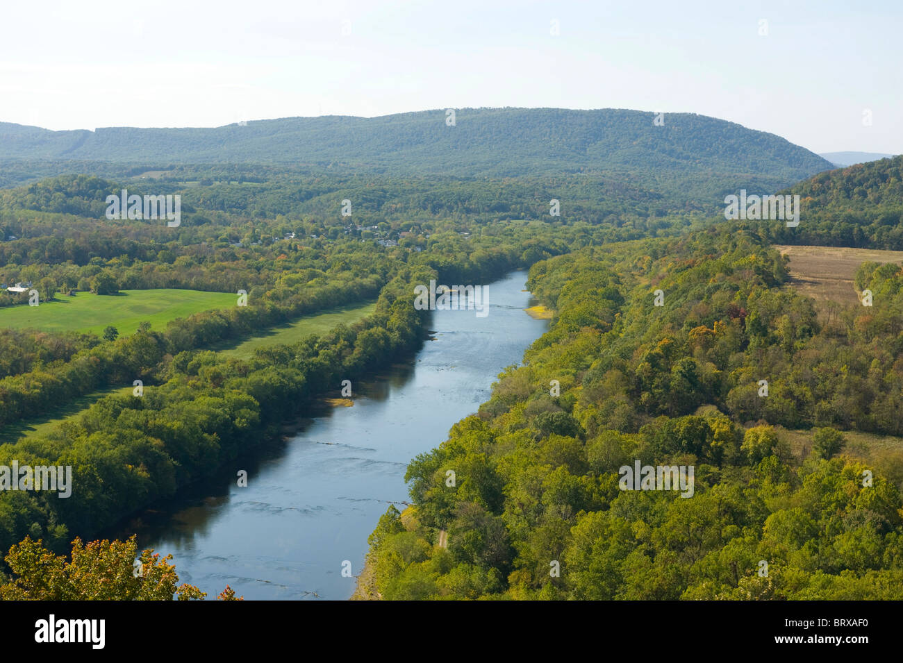 USA West Virginia WV Aerial view of the Potomac River fall autumn - Maryland on the right and WV on the left side - Stock Image