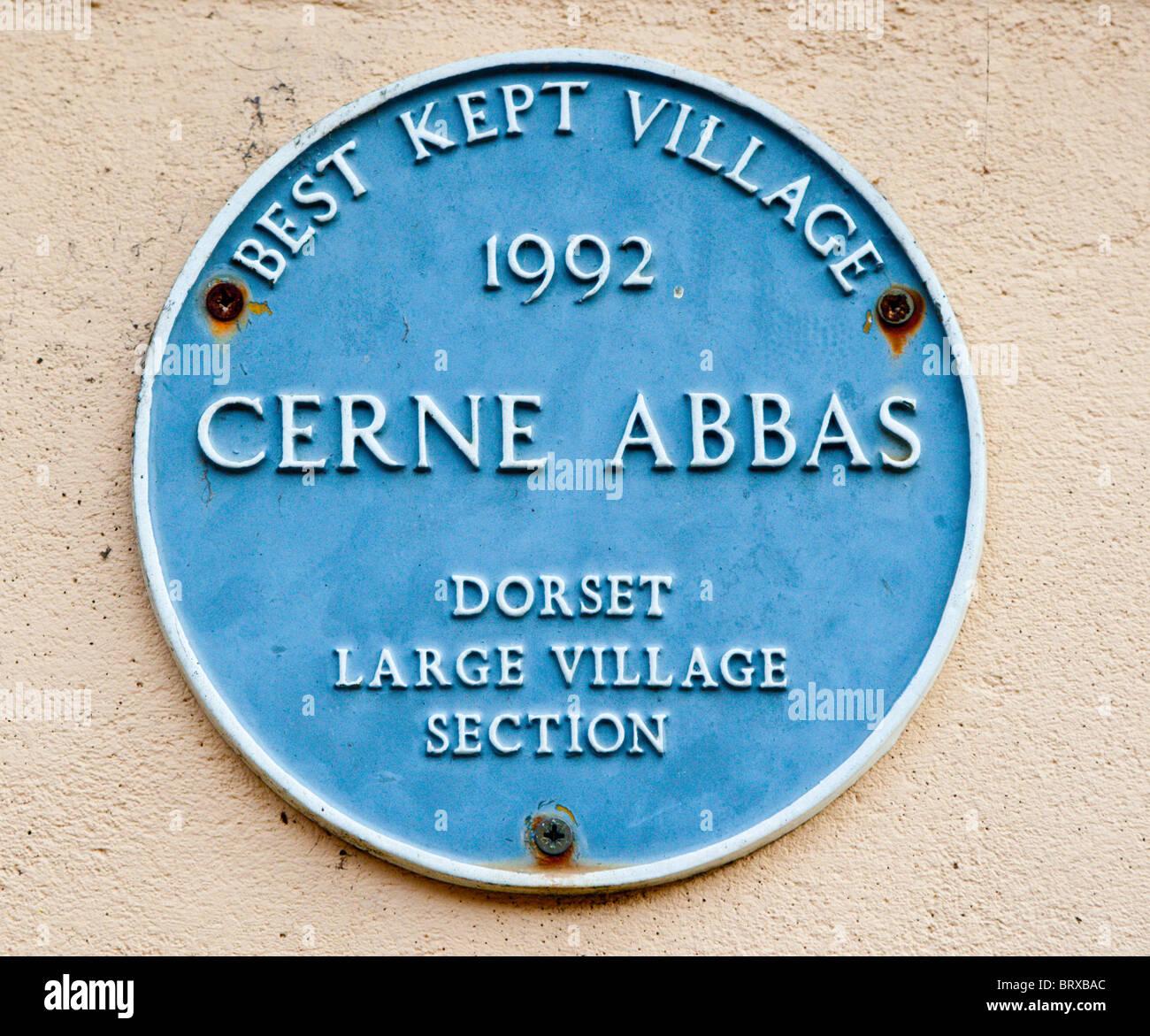 Cerne Abbas Best Kept Village Plaque 1992 - Stock Image