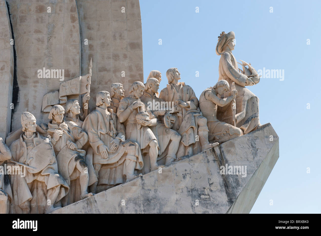Detail on the Monument to the Discoveries on Lisbon's Belem waterfront - Stock Image