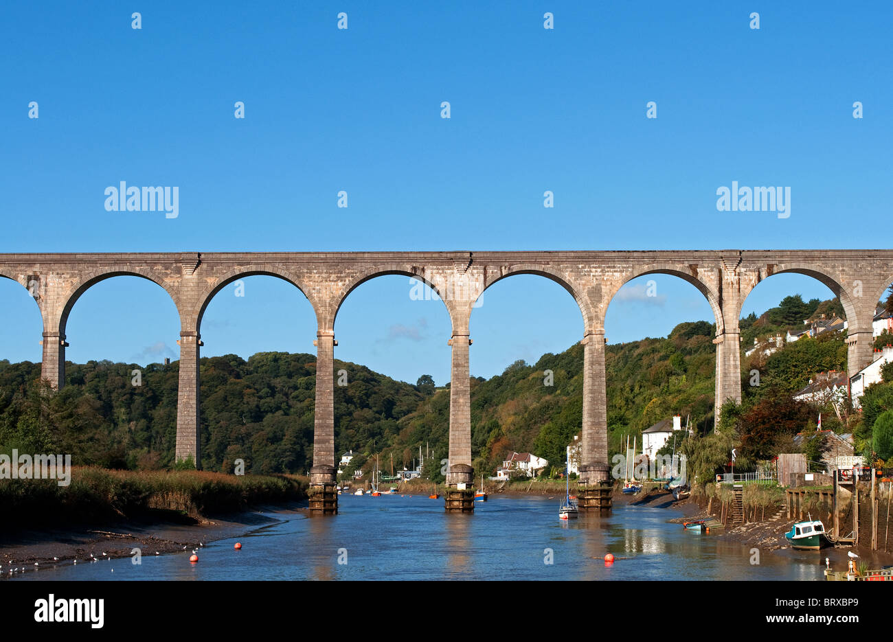the calstock viaduct, a railway bridge that connects cornwall with devon - Stock Image