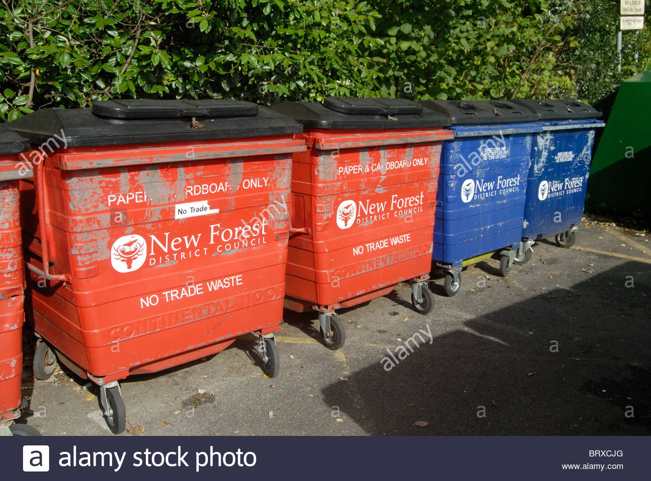 Lyndhurst UK - New Forest District Council recycling bins. Stock Photo