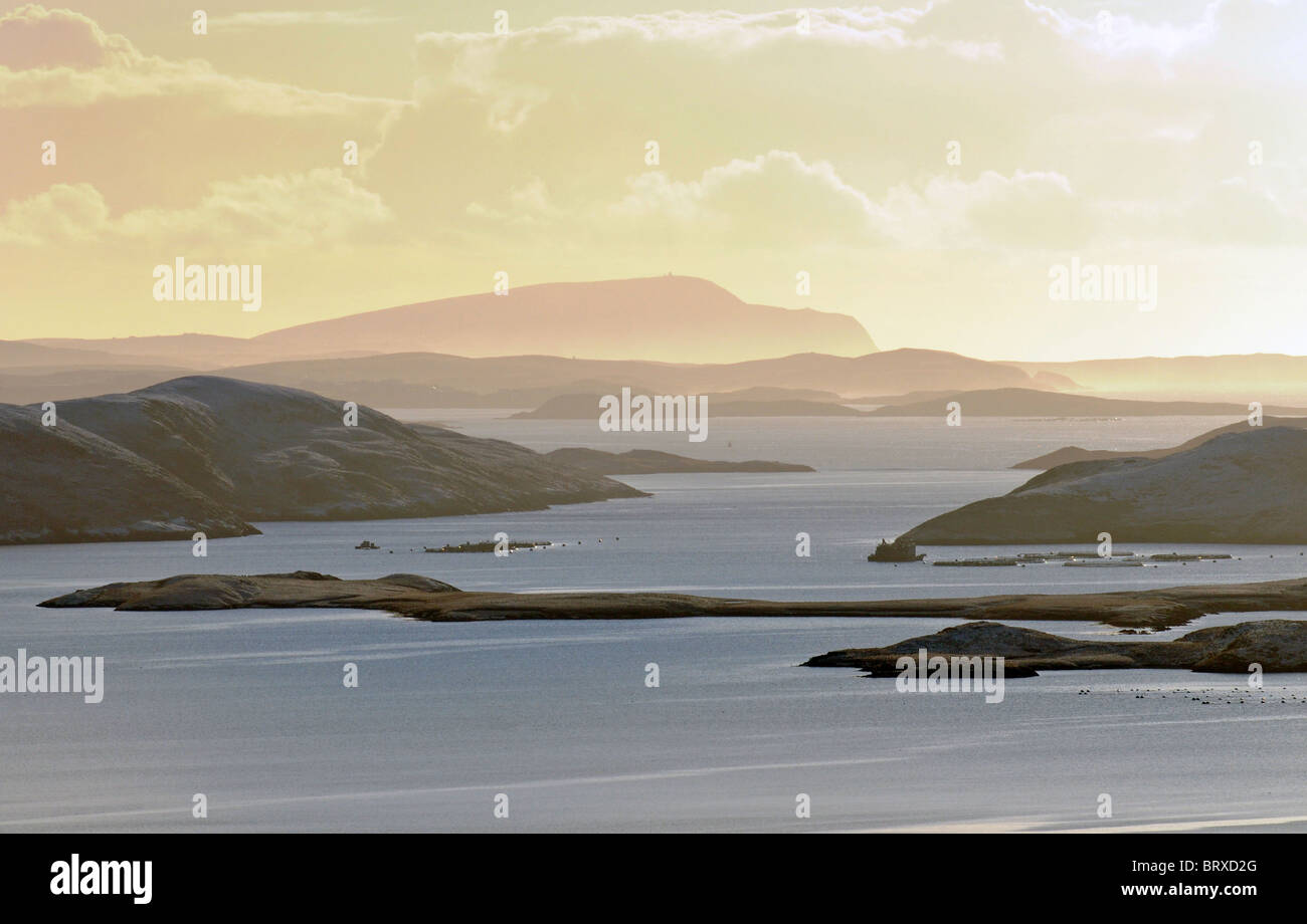 Salmon Cages at  Weisdale and Whiteness Shetland Scotland - Stock Image