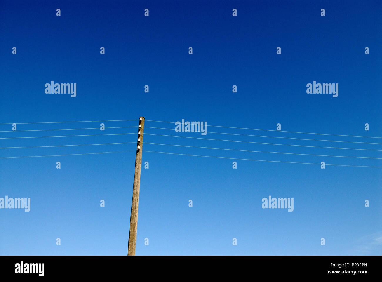 PYLON WITH POWER LINES - Stock Image