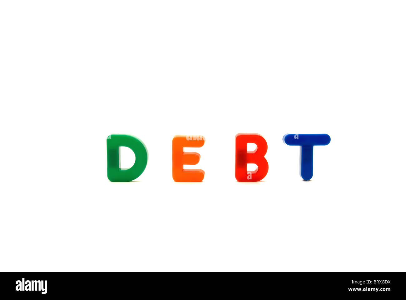 Conceptual image with children's magnetic educational letters spelling the word Debt. - Stock Image