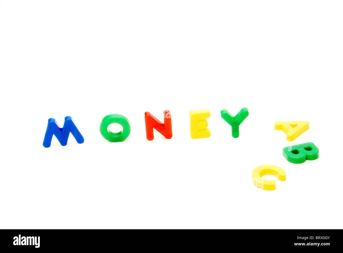 Kids educational letters spelling Money ABC - concept - basics of money - Stock Image