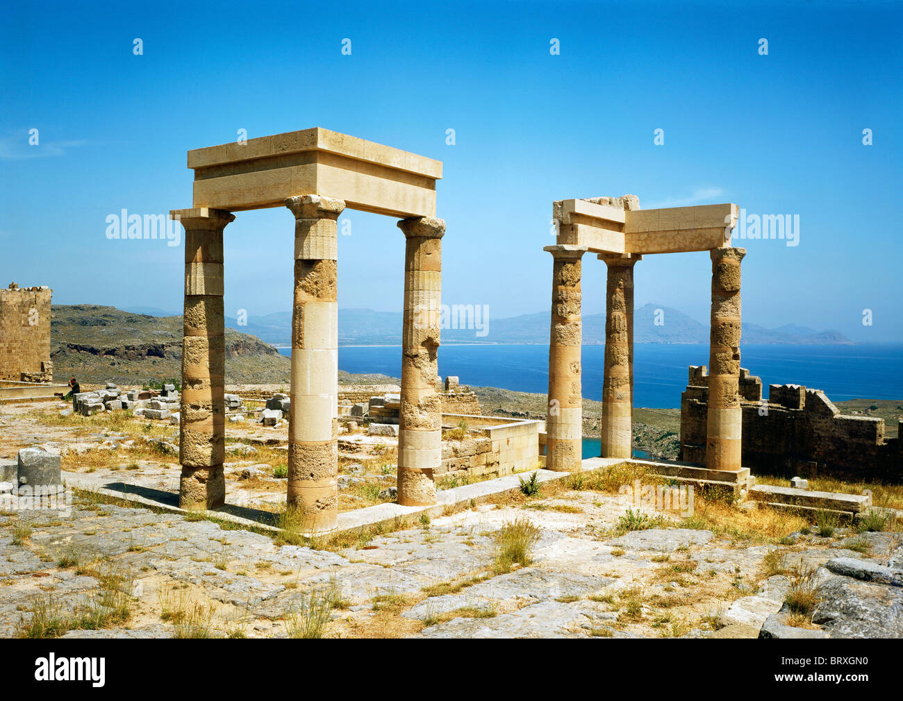 Temple of Anthena Lindia, Acropolis, Lindos, Rhodes, Dodecanese, Greece, Europe - Stock Image
