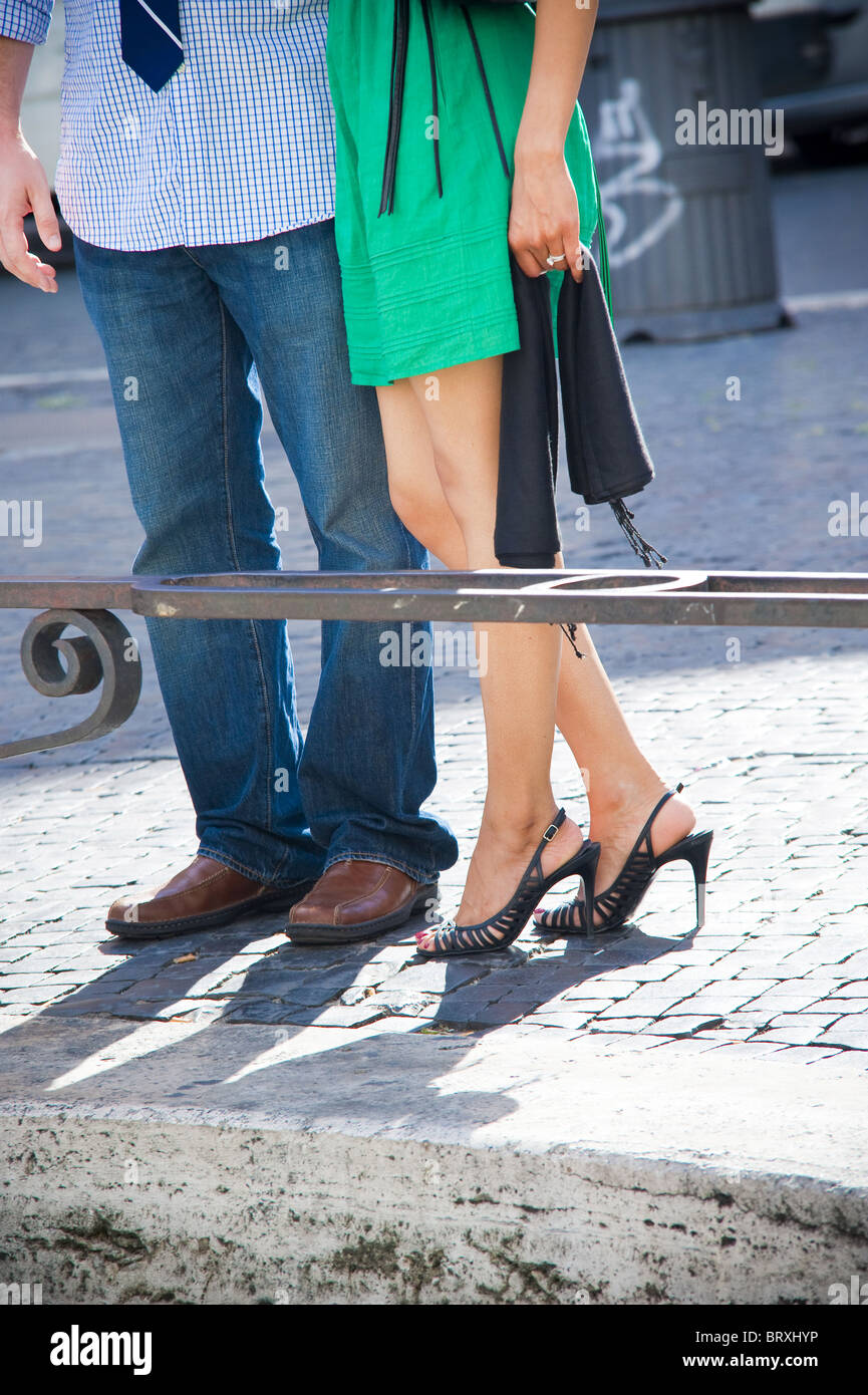 Couple together visiting the city of Rome in Italy Stock Photo