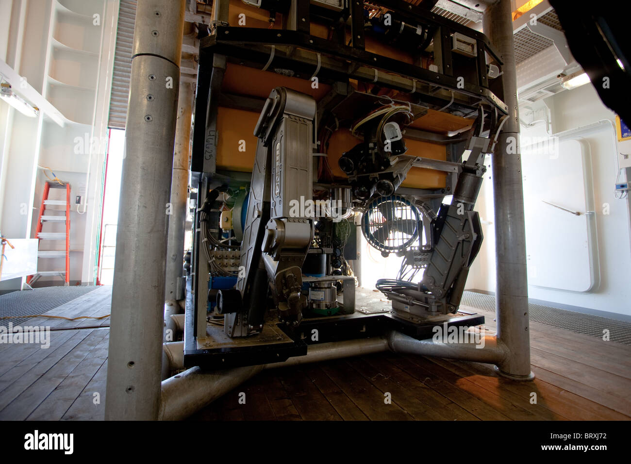 """Rov vessel with """"grab"""" implements stowed on board """"Sarah"""" oilfield intervention vessel Stock Photo"""