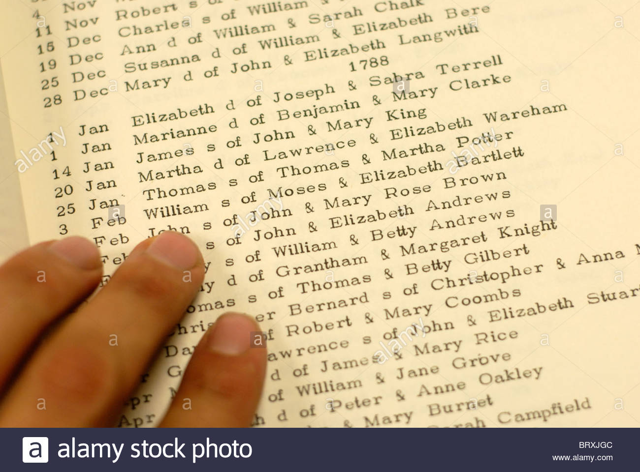Southampton UK Genealogy section of the local library. Lists of baptisms in the 1700's. - Stock Image
