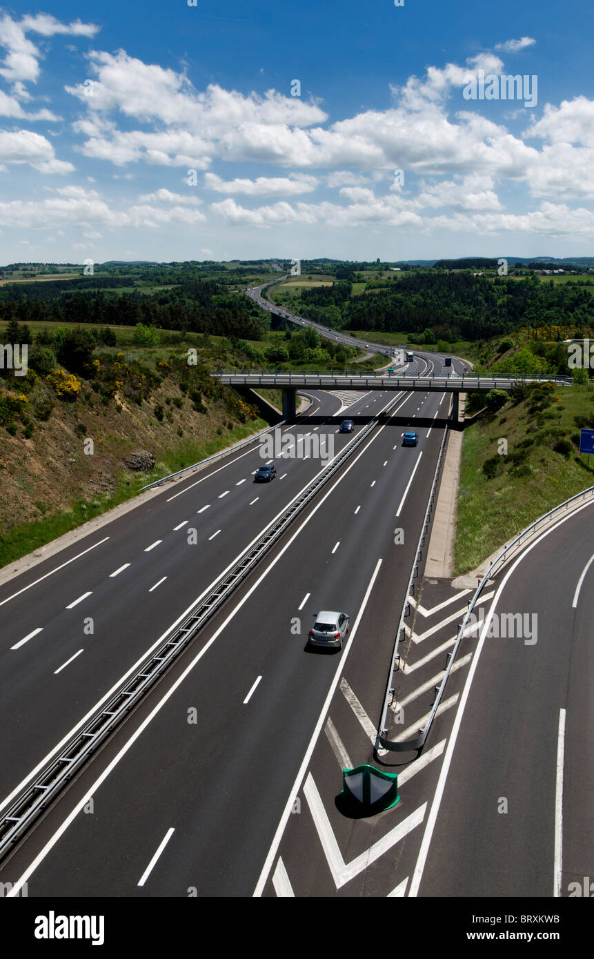 Motorway and bridge in France, Europe. - Stock Image