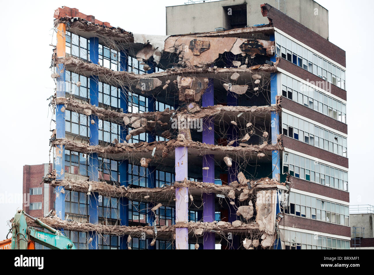 A partially demolished building in Wolverhampton, UK - Stock Image