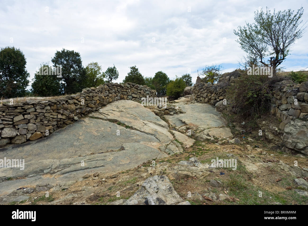 Stone Wall Fence - Stock Image