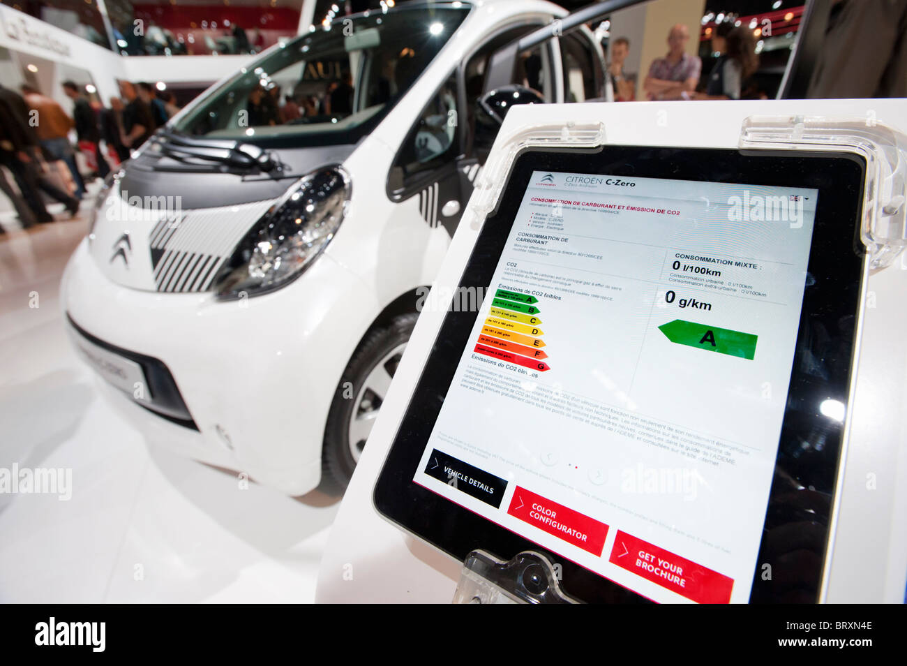 Technical information display showing zero C02 emissions from Citroen ION electric car at Paris Motor Show 2010 Stock Photo