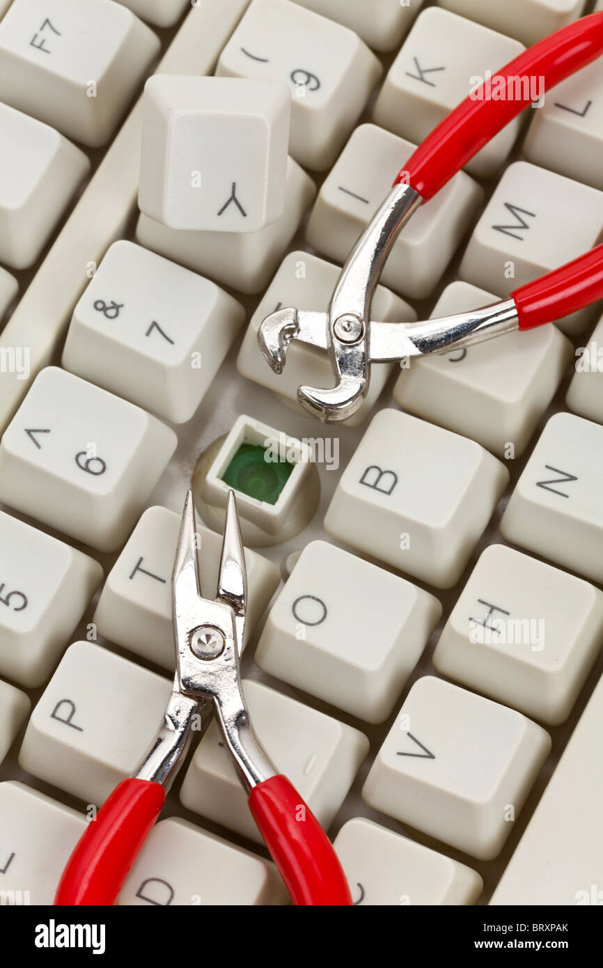 Computer Keyboard and Tools, concept of IT Support - Stock Image