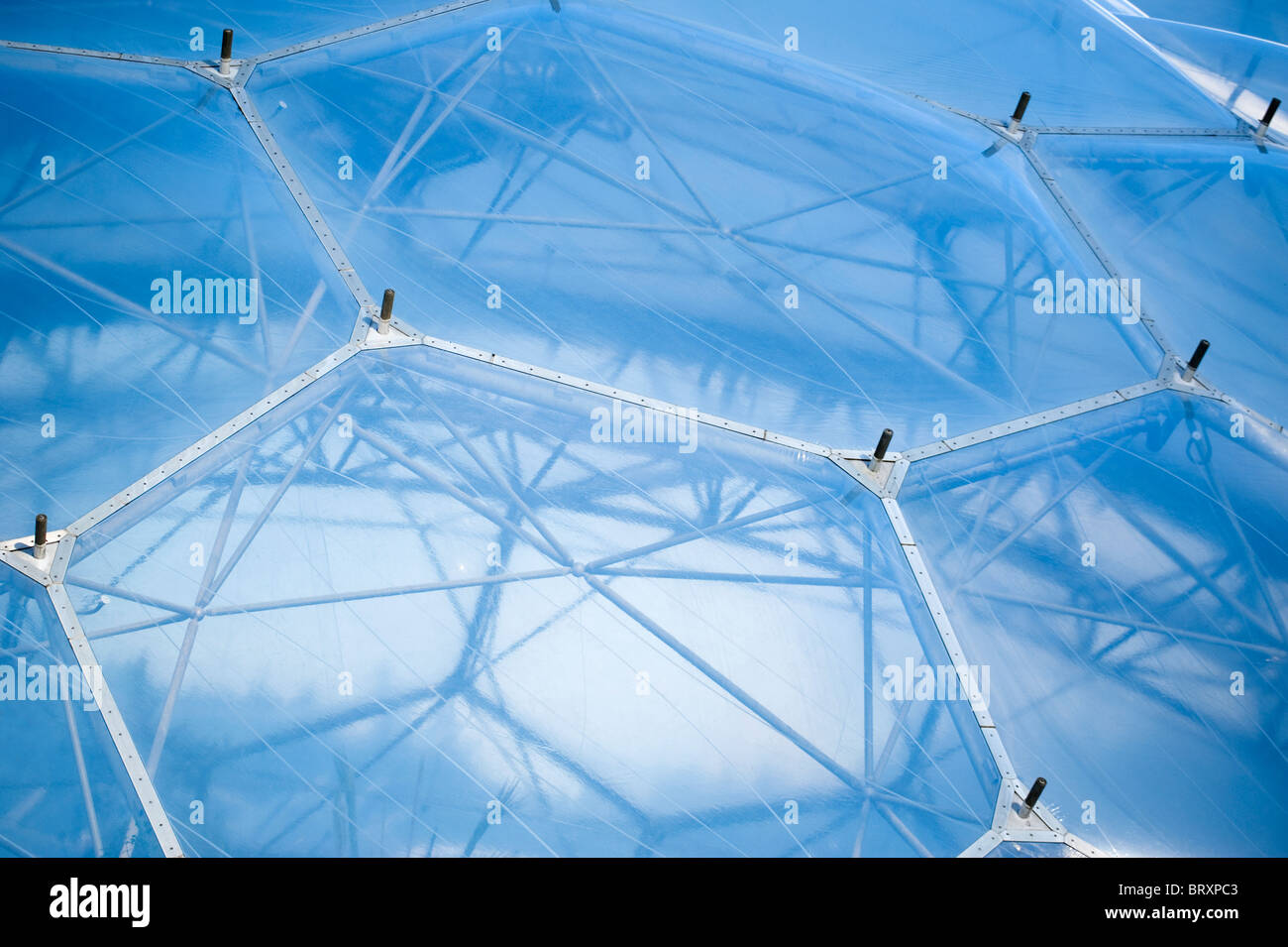 Close Up Of The Structure A Biome At Eden Project Cornwall United Kingdom