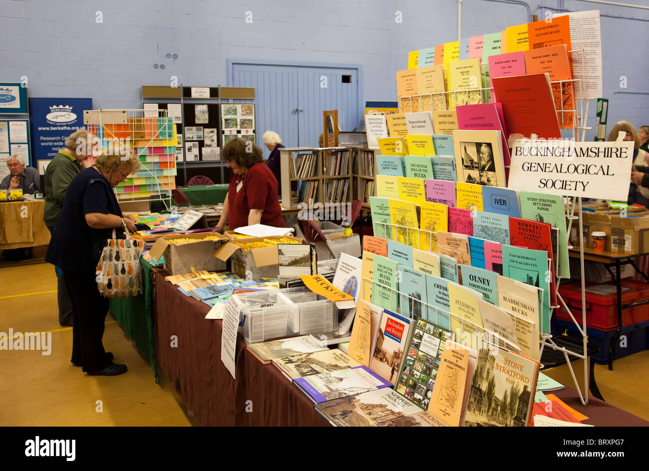 Booklets on sale at family history meeting England UK - Stock Image