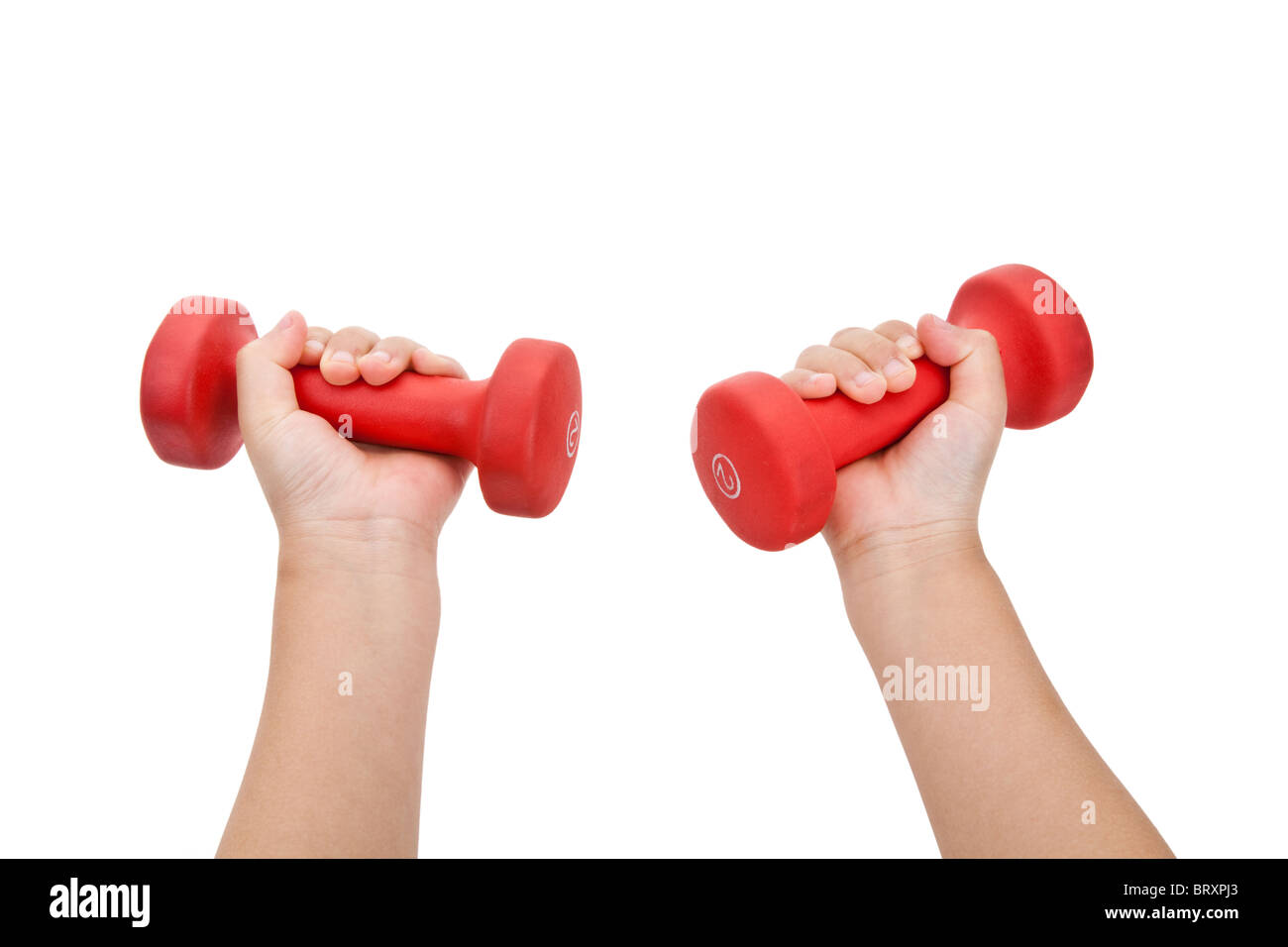 Hand holding Red Dumbbell close up shot - Stock Image