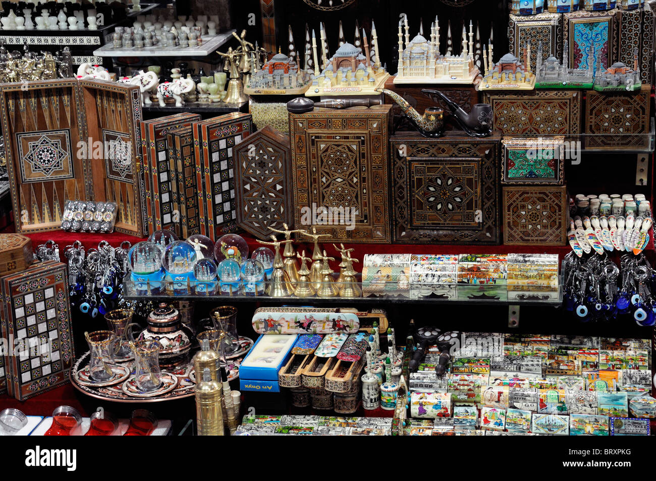 Kapali Carsi or Grand Bazaar of Istanbul, ceramics gifts souvenirs on sale Turkey backgammon board games