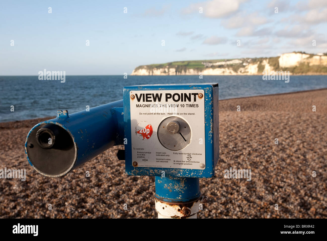 Telescope View Point Seaton Seaside Town Devon Britain Lyme Bay Jurassic Coast. Photo:Jeff Gilbert - Stock Image